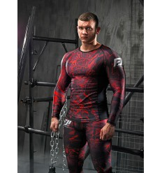 Longsleeve Rashguard Men BROKEN GLASS - Red